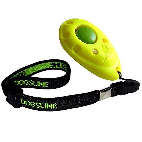 Dogsline Clicker professionnel avec dragonne élastique , training dressage pour chiens chats chevaux , colori jaune , FRDL07PA