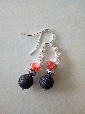 Boucles d'oreilles pendantes en cristal de roche, cornaline, perle argent tibétain et pierre de lave, diffuseurs d'huiles essentielles