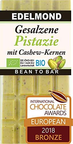 Edelmond Bio - Weiße Edel Schokolade mit Pistazie und Meersalz. Ohne künstliche Aromen und ohne Soja Lecithin. Handarbeit (1 Tafel)
