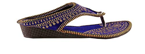 Femme Royale Rajasthani/Jaipuri Ethnic Golden Zari Embroidery Work Chappal Sandal|Color : Blue| Size: Ind/UK: 9; EU: 42