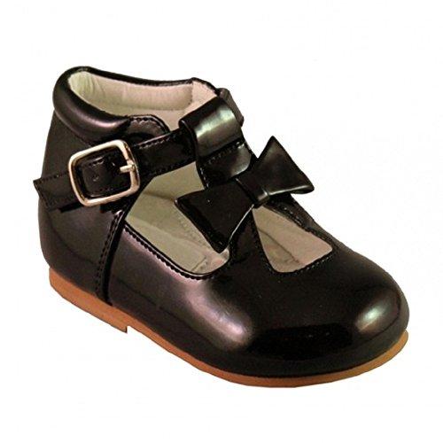 Chaussures bébé fille enfant brillant brevet avec nœud décoratif style espagnol Blanc Noir Crème Rose Rouge Parti Mariage antidérapant Première Chaussures de marche 21201 Noir