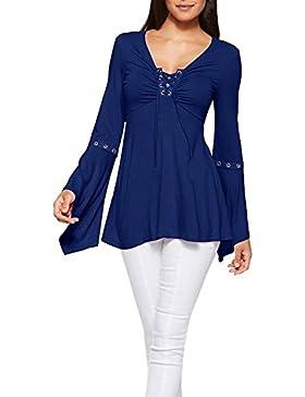 Logobeing Mujeres Sueltas Camisa Underwrap Sólida Camiseta Casual Blusa Suelta de Algodón Tops