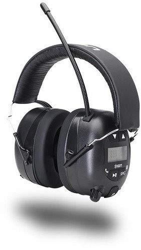 ION Audio Tough Sounds - Kabelloser Noice-Cancelling Kopfhörer inkl. Radio - Gehörschutz bis zu 23 dB - robuste Gummi-Antenne und Suchfunktion - Bedienelemente für Titelauswahl, Schwarz