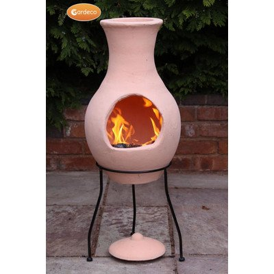 Gardeco Offener Gartenkamin Air, Terrakotta-Kamin mit Ständer und Deckel, Natur -