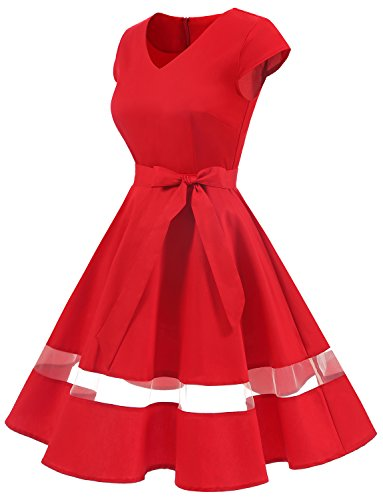 Gardenwed Womens Vintage 1950s Retro Rockabilly Swing Dress Cocktail With Cap Sleeves