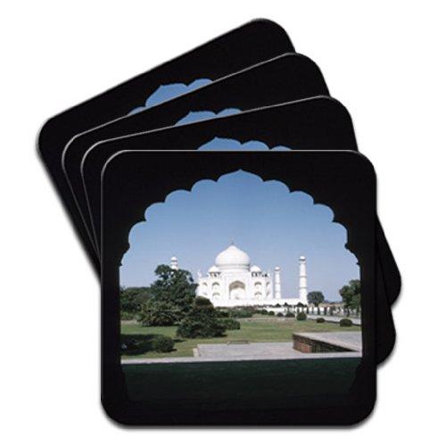 taj-mahal-de-delhi-inde-lot-de-4-dessous-de-verre-en-bois-de-qualite