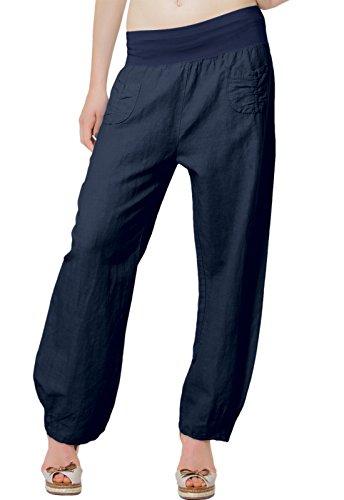 CASPAR KHS006 leichte bequeme Damen Sommerhose/Leinenhose Größen 36 S bis 46 XXXL, Farbe:dunkelblau;Größe:M - DE38 UK10 IT42 ES40 US8