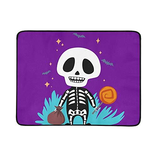 Skeleton Halloween Muster Tragbare Und Faltbare Deckenmatte 60x78 Zoll Handliche Matte Für Camping Picknick Strand Indoor Outdoor Reise ()