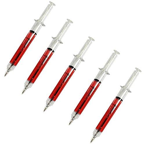 eiber Arzt Doktor Blut Spritze, Kugelschreiber in Spritzenform, Ideal für Krankenschwester Kostüme (5er Set) (Krankenschwester Kostüm In Schwarz)