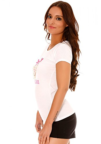 dmarkevous - Tee shirt Taupe girly à noeuds strass et perles Blanc