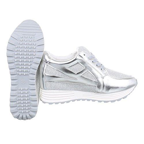 Damen Schuhe Sneakers Low-Top Schnürsenkel Low-Top Sneaker Freizeitschuhe Keilabsatz/ Wedge Silber