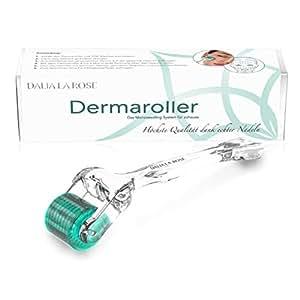 DALIA LA ROSE Dermaroller - ECHTE Nadeln - professionelles Microneedling System für zuhause, mit 192 einzelnen Nadeln aus chirurgischem Edelstahl in 0.25mm Nadellänge