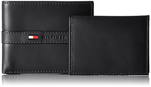 Tommy Hilfiger Men's Leather Ranger Passcase Billfold Wallet, Black