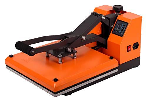 RICOO T438-GS Transferpresse Textilpresse Textildruckpresse Klappbar Thermopresse Transferdruck Bügelpresse Textil T-Shirtpresse Sublimationspresse für Flexfolie und Flockfolie/Orange