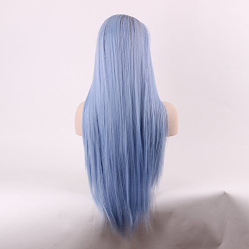 Arimika Straight Ombre Blue Heat Safe Synthetic Hair Lace Front Wig For Woman