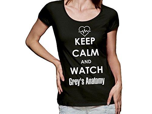 Damen T-Shirt mit Druck Keep Calm and watch Grey's Anatomy (XL)