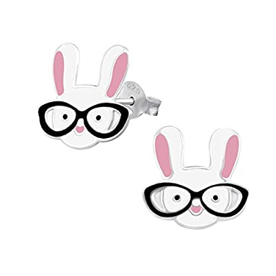 925 Sterling Silver Hypoallergenic Easter Bunny with Glasses Stud Earrings for Girls 31982
