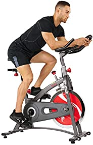 Sunny Health & Fitness Unisex Adult SF-B1423 Belt Drive Indoor Cycling Bike - Grey, One