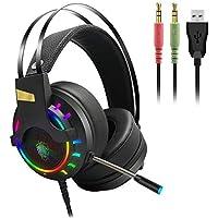 Sponsi Auriculares para juegos, auriculares con micrófono, auriculares USB Ideal para juegos en línea, con micrófono con reducción de ruido Auricular con cable