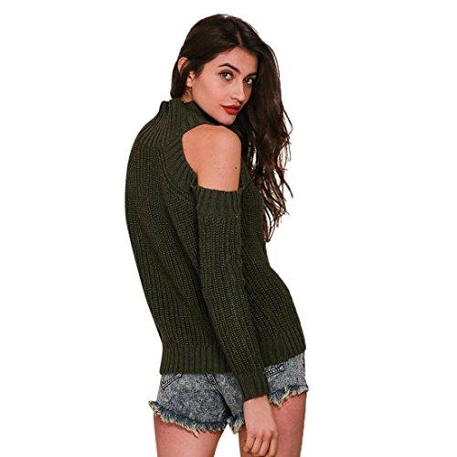 Sansee Damen Pullover Strickwaren Neueste Kalte Schulter Soild Farbe Gestrickte Langarm Frauen Sexy Pullover (A, Freie Größe) (Strickjacke Gestrickt Drop-schulter)