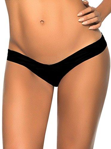 New Frauen schwarz Scrunch unten Badeanzug Tanga String Dessous Unterwäsche Stripper Pole Dance Größe M 10 (Scrunch Bottom Badeanzug)