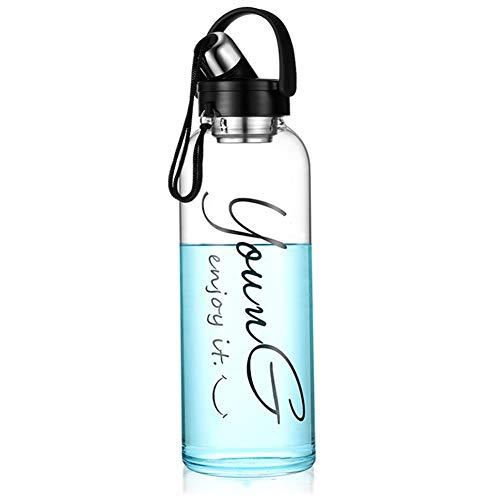 Sunkey Trinkflasche Glas 1,5/2 Liter Wasserflasche Sport mit Neoprenhülle Edelstahl Deckel Bpa Frei (2L)