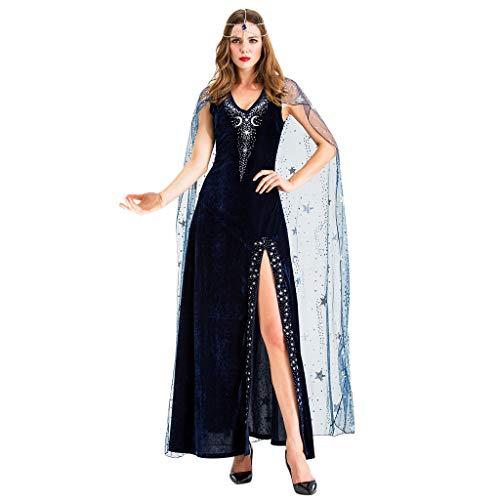 Prinzessin Für Kostüm Asiatische Erwachsene - JXQ-N Halloween Prinzessin Kostüm Damen Halloween Cosplay Kostüm Vintage Vampire Horror Braut Langes Kleid Steampunk Gothic Schlitz Maxikleid Kostüm
