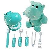 JK 9-teiliges Arzt-Spielset, Kunststoff, Zahnarzt-Set, Medizinisches Rollenspiel-Kostüm, Spielzeug für Kinder mit Nilpferd Green+Plush Hippo