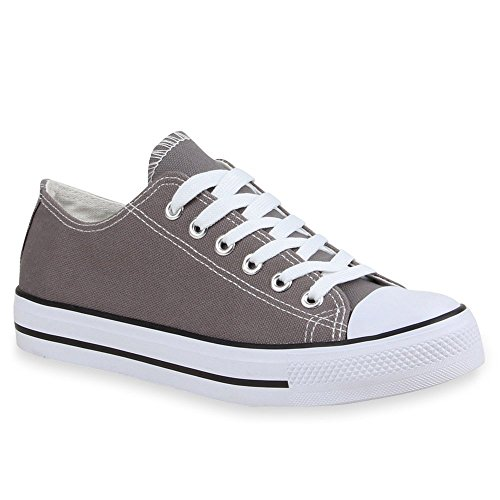 Sportliche Damen Sneakers Metallic Schnürer Sneaker Low Spitze Turn Blumen Denim Stoff Flats Schuhe 41217 Grau Weiss 41 Flandell (Grau-stoff-schuhe)