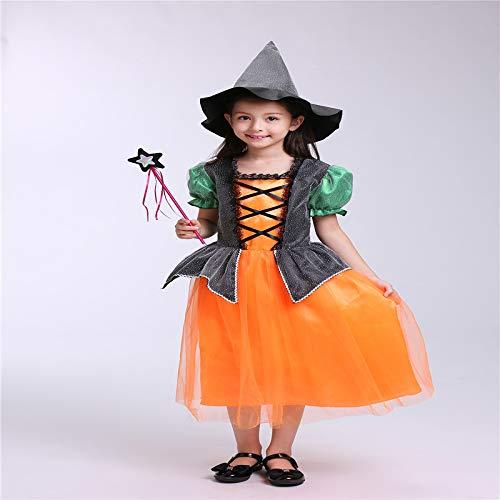 wojiaxiaopu Halloween Kostüm Kinderkostüme Kostümkugel Kürbis Hexe Kostüme süße Mädchen Cosplay gelb 100cm (Traditionelle England Kostüm)