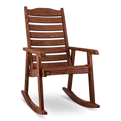 Blumfeldt Alabama • Schaukelstuhl • Schwingsessel • Gartenstuhl • Retro-Stuhl • Maße: 57,5 x 105,5 x 85 cm (BxHxT) • robuste Fertigung aus Massivholz der Spießtanne • große Rückenlehne • witterungsbeständige Schutzlasur • maximale Belastung bis 150 kg • braun
