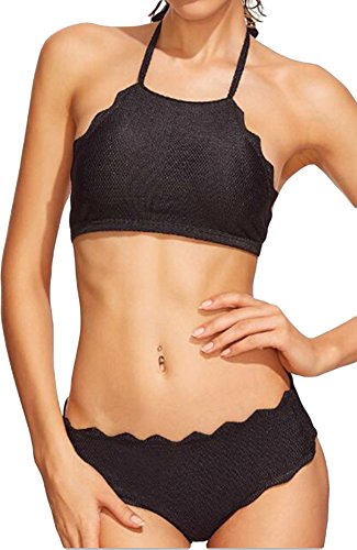 Donne Bikini costume da bagno Bustino Halter due pezzi slittamento Top Uni polsini frastagliate Nero 44/46 (label L)