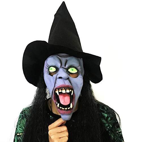 Circlefly Langhaar Halloween Hexe Maske Horror Maske beängstigend Latex (Beängstigend Hexe Maske)