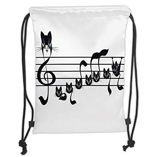 Icndpshorts Music Decor,Notes Kittens Kitty Cat Artwork Notation Tune Children Halloween Stylized, Soft Satin,5 Liter Capacity,Adjustable String Closure,The Stylish B