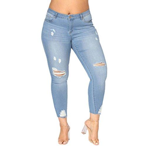 Jeans Hosen BakeLIN Damen High Waist Große Größen Löcher Skinny Elastizität Dünne Hosen (2XL~7XL, Dunkelblau Hellblau) (5XL, Hellblau)