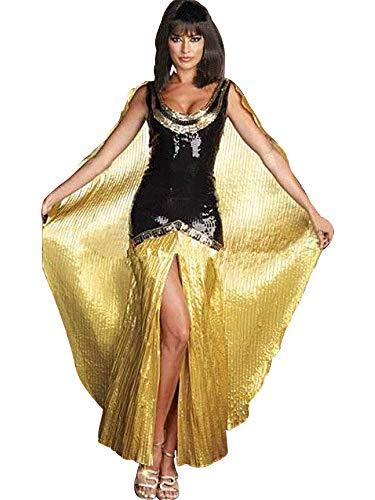 The Good Life Damen Schwarz und Gold Ägyptische Königin Cleopatra Harem Kostüm Lange Kleid Größe 38-40 (Cleopatra Kostüm Schwarz)