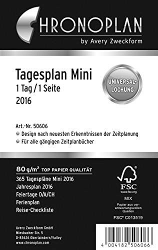 Chronoplan 50606 Kalendarium Tagesplan Mini, 1 Tag/1 Seite, 2016, 1 Stück, weiß