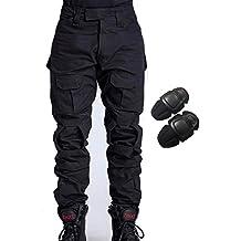 H Welt EU - Pantalones militares del ejército táctico, para airsoft o paintball, pantalones de lucha para hombre con rodilleras, color negro, tamaño extra-large