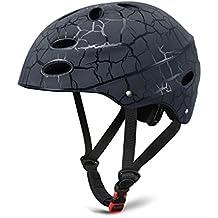 SKL Skate Helmet Adjustable Skateboard Helmet Roller Skating Scooter Cycling Helmet with ABS shell for Kids & Youth (Black, 56-58cm)