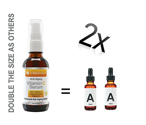 20% Vitamin C Serum • Organic • 60ml • Vitamin E Hyaluronic Acid • Moisturizer • Sensitive Skin • Anti Aging Wrinkles & Spots • Use with Derma Roller