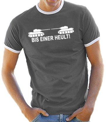 Touchlines Bis einer heult ! Kontrast/Ringer T-Shirt Darkgrey/White, XL (Ringer Obama)