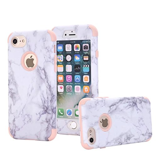 iPhone 7S Hülle, Lantier Dual Layer Heavy Duty Marble Stone Graphic Hybrid Armor Hard Soft Rubber Full Body Protective Skin Durable Shockproof Case Cover für Apple iPhone 7 7S 4.7inch Blue Rosa