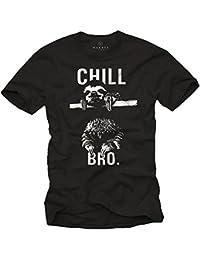 Cooles Hipster T-Shirt mit Faultier für Herren CHILL BRO. schwarz Größe S-XXXL