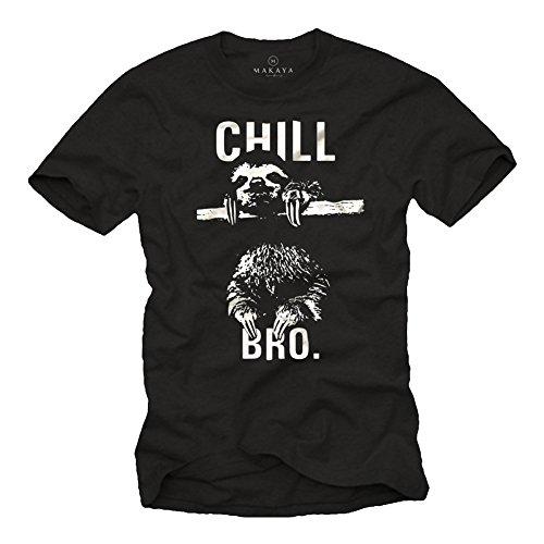 Cooles Hipster T-Shirt mit Faultier für Herren CHILL BRO. schwarz Größe M