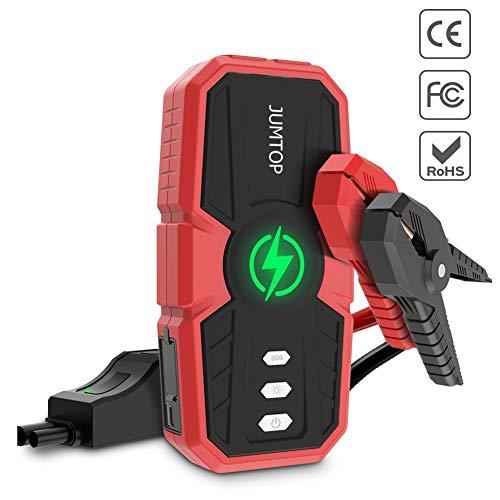 JUMTOP Avviatore Auto Portatile, 1500A Picco 12800mah Portatile Salto Auto (10L Gas/Motore Diesel 8L) Booster Batteria Automatica e Caricabatterie Banca e Telefono con Doppia Porta Smart USB LED.