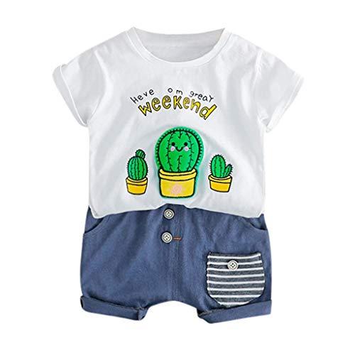 AIKSSOO Little Boy Frühling Sommer Kleidung Set Kleinkind Baby Kinder Jungen Cartoon Kaktus Brief Tops Kurze Hosen Casual Outfits Set (Color : White, Size : 0-6m) Baby Boy-white-hosen