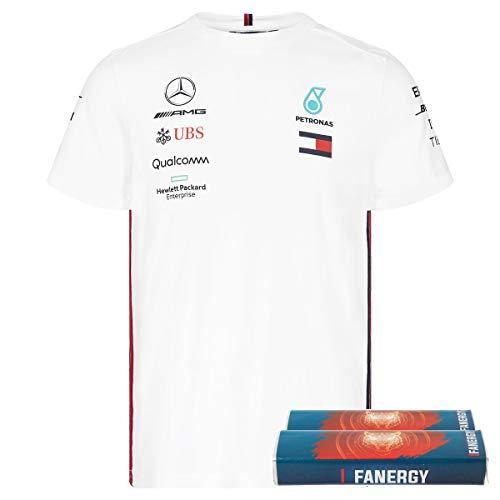 Mercedes AMG Team Herren T-Shirt 2019 weiß + FANERGY Traubenzucker (L) (Damen-team-logo-t-shirt Blaue)