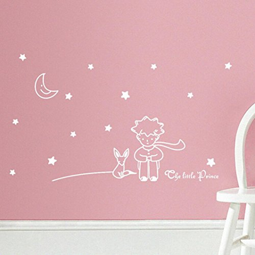 Oyedens Der Kleine Prinz Junge Wandaufkleberausgangsdekor Wand Abziehbilder SchöNen Sterne Mond (Weiß)
