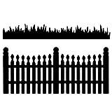 Stanzschablonen, Zaun & Gras, 10,6 cm x 4,7 cm, 10,6 cm x 2 cm, 2 Stück