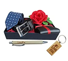 TiedRibbons Gifts for Boys (Belt, Wallet, Rose, Tie, Pen and Keychain)